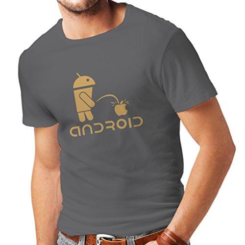 Camisetas Hombre el Divertido Robot y la Manzana - Citas Divertidas, Regalos humorísticos