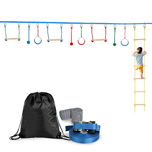 Review Of Slackline Bar Kit Outdoor Tree Hanging Obstacles Line Accessories Play Set Blue