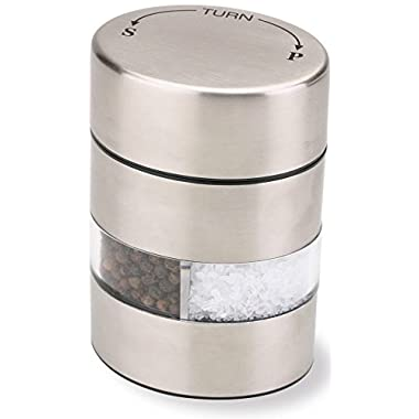 Olde Thompson 4  Stainless Steel Pepper Mill and Salt Mill 2-in-1 Combo