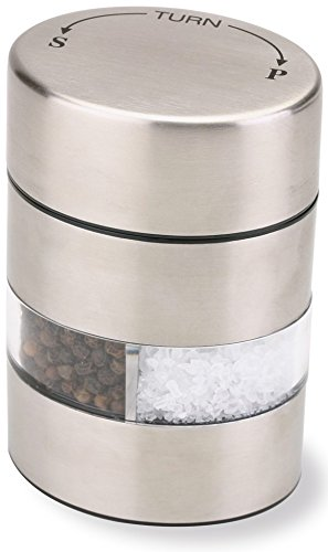 Olde Thompson 4' Stainless Steel Pepper Mill and Salt Mill 2-in-1 Combo -