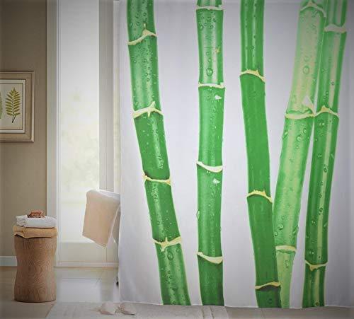 VÄLSON Duschvorhang 180x200 cm Bamboo incl. Ringe Anti-Bakteriell mit verstärkte Lochleiste & Gewichtsaum