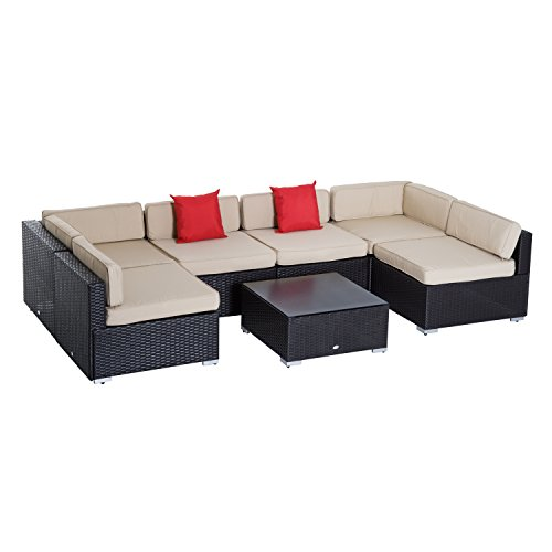 Outsunny 7 Piece Outdoor Patio Rattan Wicker Sectional Furniture Set