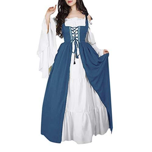 RISTHY Vestidos de Fiesta Gótico Mujeres Vestidos Medieval Vestidos Cosplay Manga Trompeta Retro Cuello Cuadrado Renacentista Princesa de Las Mujeres Vestidos Largos para Mujeres