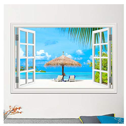 Muurstickers Zomer Strand Zeegras Paraplu Dekstoel 3D Nep Venster Landschap Muursticker Slaapkamer Studie Woonkamer Kinderkamer Decoratie Vinyl Art Muursticker 60 * 90Cm