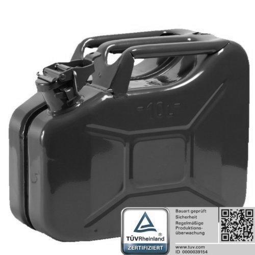 Oxid7® Bidón de Combustible Homologado de 10 Litros - Garrafa de Gasolina y Diésel en Metal con Aprobación de la ONU - Ideal para Viajes Largos; Uso de Cortacésped o Motosierra - Negro