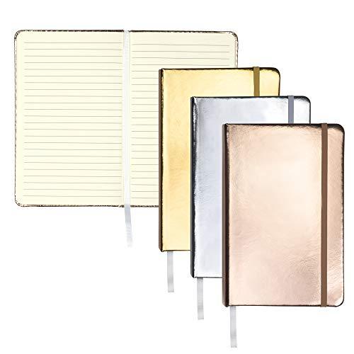 Samsill Pacote com 3 cadernos de capa dura, conjunto de presente para diário metálico inclui 1 diário prateado, dourado e ouro rosa, diário clássico forrado de 13 x 21 cm