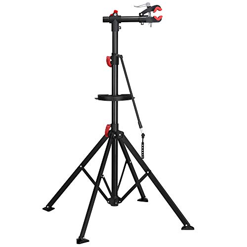 YAHEETECH Bike Repair Stand Height Adjustable with Multiple Quick Release Telescopic Arm Bonus Tool Tray for Home Bicycle Mechanic