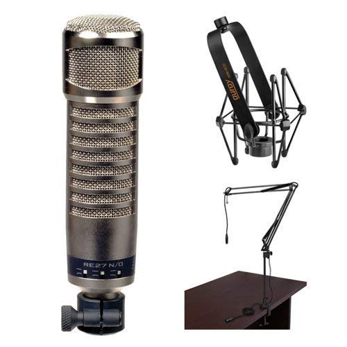 Electro-Voice RE27N/D Broadcast Announcer Microphone with Auray Microphone Suspension Shockmount and Auray Two-Section Broadcast Arm (Bundle)
