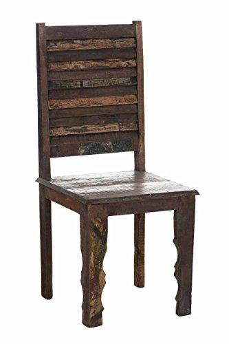 CLP Holz-Esszimmerstuhl SHUKRA, massives recyceltes Teakholz, Rückenlehne aus gefächerten Latten, geschwungene Stuhlbeine Bunt