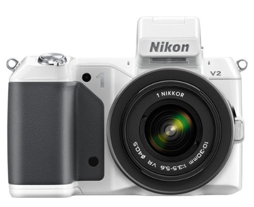 Nikon 1 V2 Systemkamera (14 Megapixel, 7,5 cm (3 Zoll) Display, Hybrid-Autofokus, superhochauflösender elektronischer Sucher, Full-HD Video) weiß Kit inkl. 10-30 mm VR Objektiv