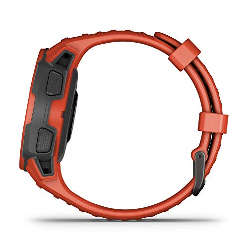 Garmin Instinct Solar, Reloj GPS resistente con carga solar - Rojo