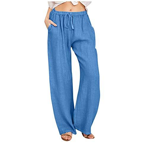 N\P Pantalones de verano más el tamaño de las mujeres ocasionales de algodón de lino bolsillos