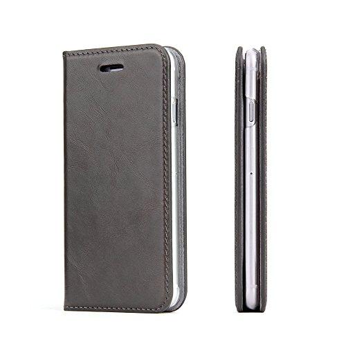 Wormcase Echt Ledertasche - für Apple iPhone SE 2020 und iPhone 8/7 - Handytasche mit Kartenfach – Magnetverschluss - Schlammgrau/Braun - Klapphülle/Schutzhülle