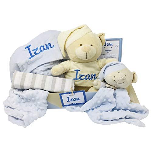 Teddy Deluxe de Mababy | Regalo Bebe Recien nacido | Set regalos bebe | Canastilla Bebé Original … (Azul, 3-6 meses)