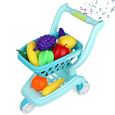 Auggie Kids Shopping Cart Grocery Cart Toy with Wheel Pretend Play Food Sounds Supermarket Store Playset Gifts for Toddler Boys Girls Age 2 3 4 5 Years Old