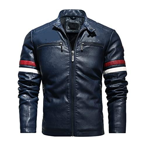 NW Chaqueta De Cuero De Motociclista Con Abrigo De PU De Invierno A La Moda Para Hombre, Chaqueta De Motocicleta Vintage Para Hombre, Abrigo De Bombardero Bordado Para Hombre