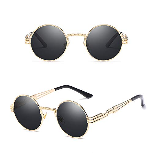 APCHY Gafas De Sol Redondas Pequeñas De Moda para Hombres Y Mujeres UV400 Marco De Metal Gafas Retro Estilo Hippie De John Lennon,A
