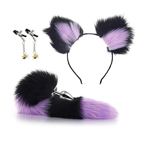 Soffice coda di volpe Bú-tt an-àl Pl-úg e grazioso cerchietto con orecchie di gatto, un regalo per gli amanti, costume cosplay 28mm (S)
