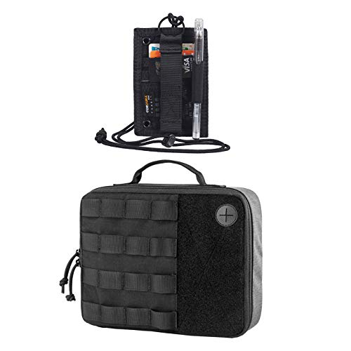 OneTigris Tactical ID Card Holder Hook & Tacti-Tech Electronics Organizer Bag Travel Acecssory Pouch (Black)