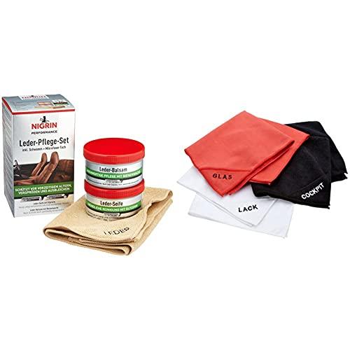 NIGRIN Performance Leder-Pflege-Set mit Balsam, Seife, Schwamm und Mikrofaser-Tuch, für Auto-Leder-Bezüge & 71111 Microfaser-Set (Lack, Glas, Cockpit)