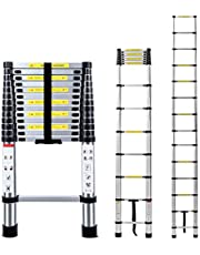 Jason Telescopische Ladder EN131   4.4/4.1M Max belasting 330lbs Aluminium Ladder 14.5/13.5FT Uitschuifbare Ladder [Stap A ++++]