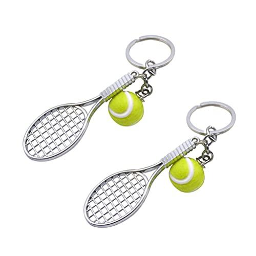 POPETPOP 2 Piezas Mini Raqueta de Tenis Metal Raqueta de Tenis Llavero Mini Raqueta de Tenis con Bola Llavero Estilo Llaveros Regalos de Cumpleaños