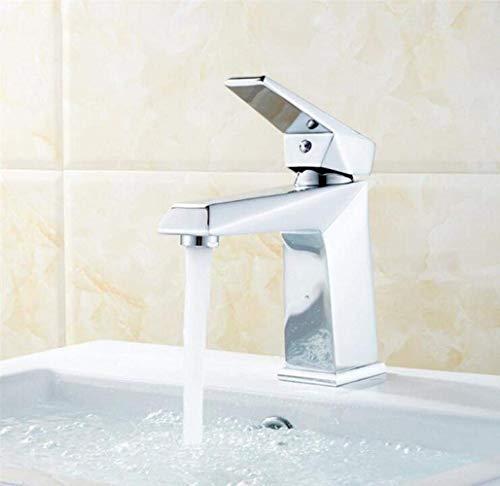 YXKA Accesorios De Baño Lavabo De Baño Grifo De Recipiente Grifos Monomando para Lavabo Grifo De Lavabo Latón Grifo para Lavabo De Agua Fría Y Caliente De 1 Orificio, Plateado, A Grifos