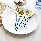 Miminuo Cuberterias,Espejo Retro de Hoja de Acero Inoxidable 304 de Alto Grado Azul Claro Oro 36 Piezas-B Azul + Oro 30 Piezas