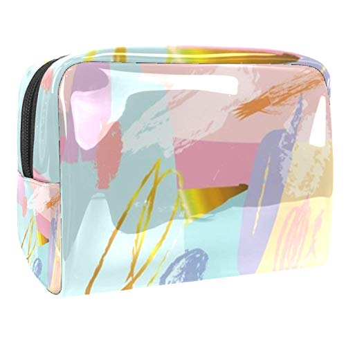 Portable Makeup Bag with Zipper Travel Toiletry Bag for Women Handy Storage Cosmetic Pouch Gold Wire Loop