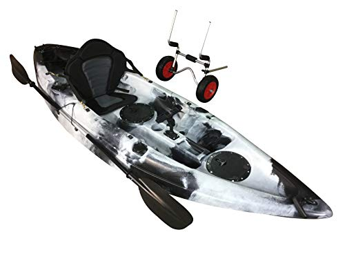 Cambridge Kayaks Kayaks Single Sit On Top Fishing Kayak With Trolley - black and white, Single