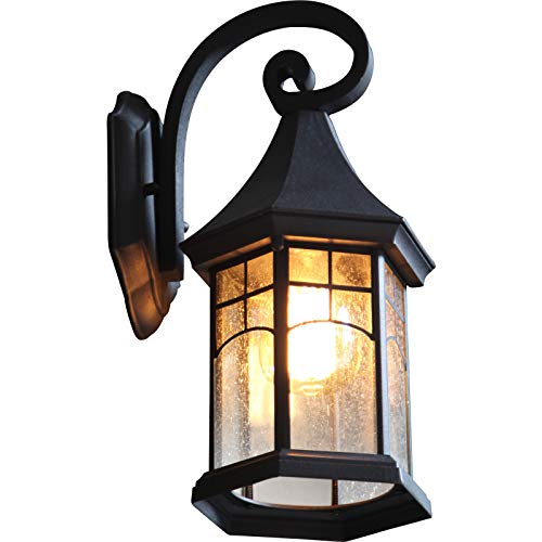 Wall Sconce Outdoor Front Porch Light Led,Black Wall Light Outdoor Light Fixtures Wall Mount,Patio Wall Lantern Outdoor Wall Lights Exterior Light Fixture,Outside Lights for House with Seeded Glass
