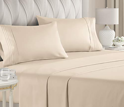 Queen Size Sheet Set - 4 Piece Set - Hotel Luxury Bed Sheets - Extra Soft - Deep Pockets - Easy Fit - Breathable & Cooling - Wrinkle Free - Comfy – Cream Bed Sheets - Queens Sheets (Queen, Cream)