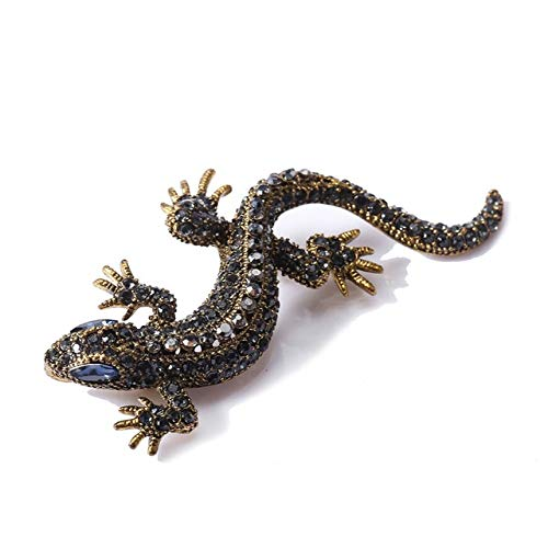 Lizard Rhinestone Brooch Pin Women Geckos Animal Pins and Brooches Clothes Vintage Metal