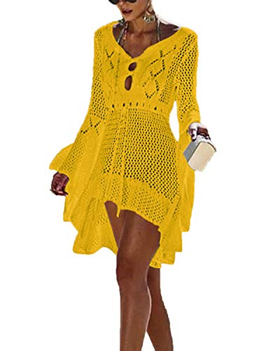 YOINS Strandkleid Damen Strandmode Bikini Cover Up Strandponcho Strandkleider für Damen Strandtunika Sommerkleid Kleider Sommer Strandaccessoire gelb Einheitsgröße