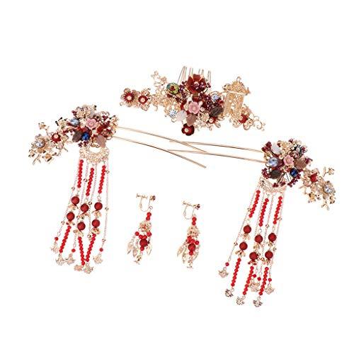 chiwanji Haarnadel, chinesische Hochzeit, Haarschmuck, rote Quaste, Perlen, Haarkamm, Brautschmuck...