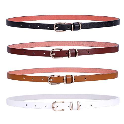 JasGood 4 Stück Damen Skinny PU Leder Gürtel Einfarbig Dünner Taillengürtel für Jeans Kleid in Dornschließe, Hosengrößen 80cm-90cm