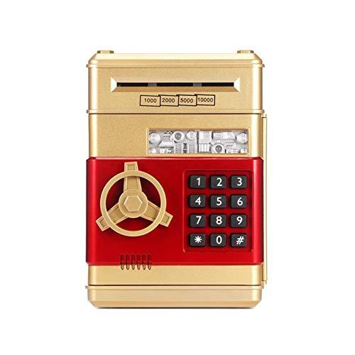 JSJJAET Hucha Caja de Dinero de Caja de Seguridad de la banca electrónica Cajas de Dinero para niños Monedas Digitales Efectivo Ahorro de Efectivo Mini máquina de cajero automático (Color : Gloden)