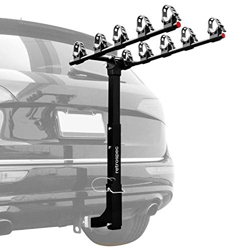 """Retrospec Lenox Car Rack Five Bike Mount Hitch - 5 Bicycle Carrier - Class III or IV 2"""" Hitch - Compact Foldable Steel Frame"""