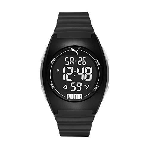 PUMA 4 Quartz Watch with Plastic Strap, Black, 22 (Model: P6015)