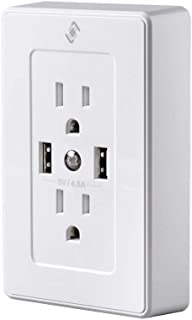Wireless Smart Plug Wall Outlet - White (Recessed Back) with 2 Receptacles 15A, 2 USB 4.8A Ports, Night Light, No Hub Required, Compatible with Alexa & Google Home - from Stitch Smart Home Collection