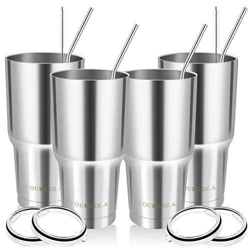 Stainless Steel Tumbler 30oz - Vacuum Insulated Tumbler Coffee Cup Double Wall Large Travel Mug with...
