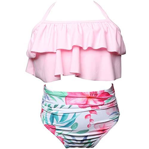 Rosiika Girls' Alania Flounce Bikini Beach Sport 2-Piece Swimsuit Swimwear Bathing Suits 116 Pink Flower