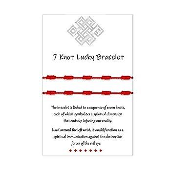 Mexican 7 Knots Red Bracelet Kabbalah Protection Family Amulet Thread String Good Luck Ojo Ankle Bracelets for Women Men Girls Boys Friendship