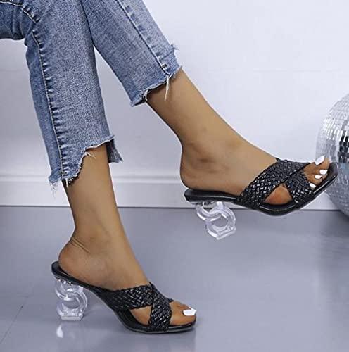ZXQYLFLY Zapatillas casa Hombre,Summer Fashion Square Head Transparent Heel Osso Housts Houses Casas Pendientes de Mujer-Negro_37 UE