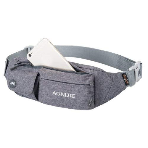 AONIJIE Water Resistant Waist Bag Fanny Pack Hip Pack Bum Bag Running Belt Exercise Bag for Sports Travel Running Hiking, Grey