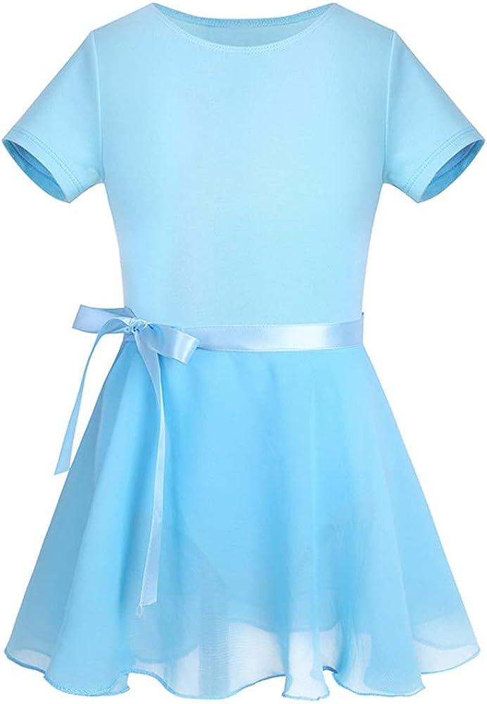 DFLYHLH Girls' Gymnastics Ballet Jumpsuit, Tutu Dance Dress, Girls Princess Ballerina Dress and Chiffon Skirt