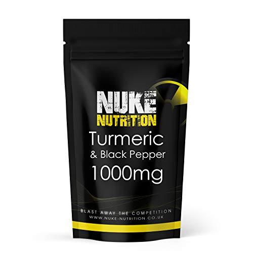 Nuke Nutrition Turmeric & Black Pepper Capsules | 180 Capsules | High Strength 1000mg 95% Curcuminoids | Anti-Inflammatory & Antioxidant | Advanced Curcumin Supplement for Joints, Immunity & Vitality