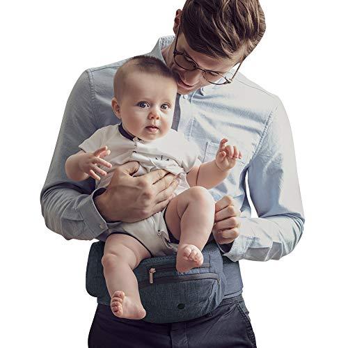 Bebamour Foldable Baby Hip Seat Carrier Ergonomic Toddler Waist Seat Safety Certified Hip Seat Baby Carrier (Dark Grey)