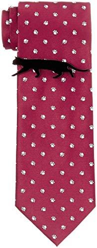 [ドレスコード101] 猫好きさん必見 ネコのネクタイとネコのタイピンの2点セット ボックス付 プレゼント ギフト メンズ おもしろ 洗える ネクタイ 可愛い ネクタイピンおしゃれ 猫 ねこ 通勤 ビジネス ネクタイ&タイピンセット にくきゅう×レッド 日