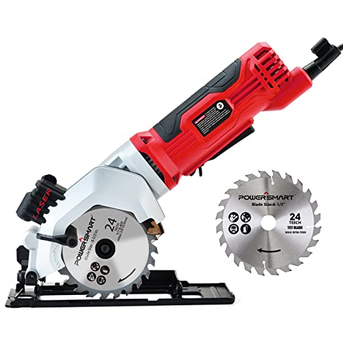 PowerSmart Mini Circular Saw, 24T 4-1/2 Compact...